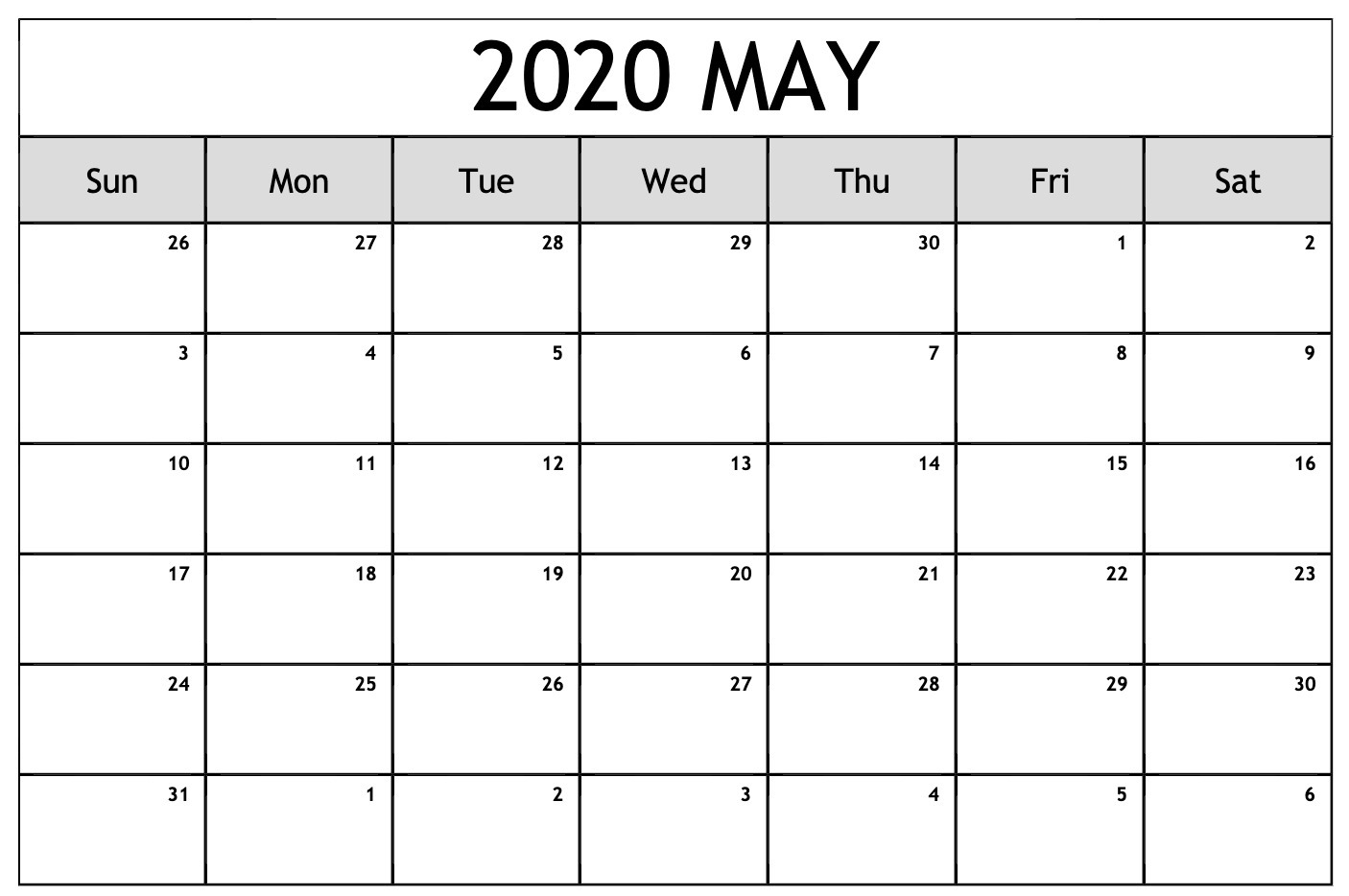 May 2020 Calendar Printable.May 2020 Calendar Printable Blank Template Pdf Word Excel