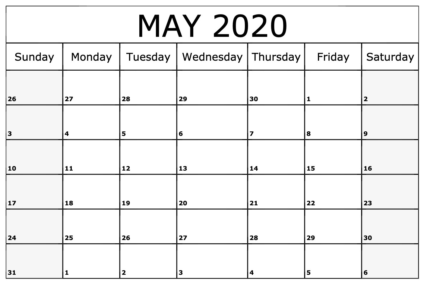 May 2020 Printable Calendar Excel