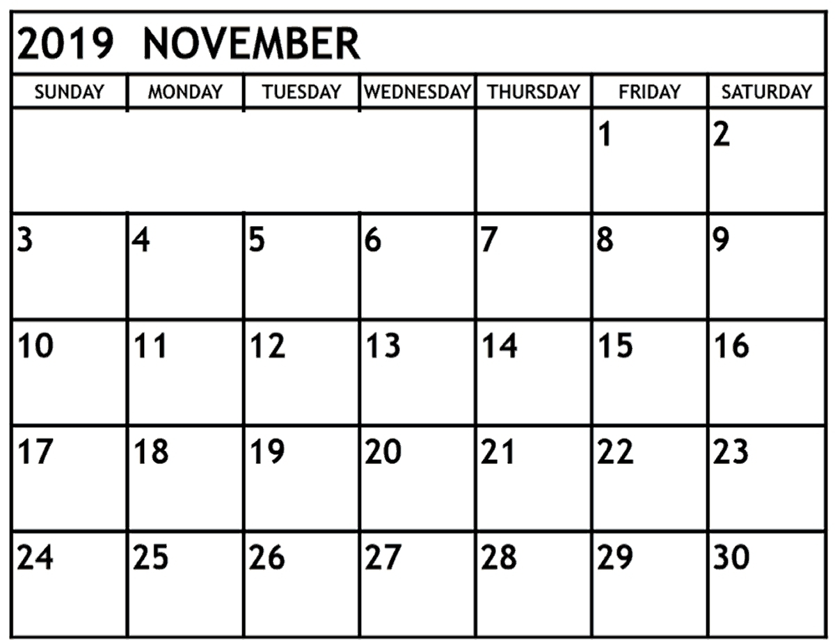 Nov 2019 Calendar Blank Editable