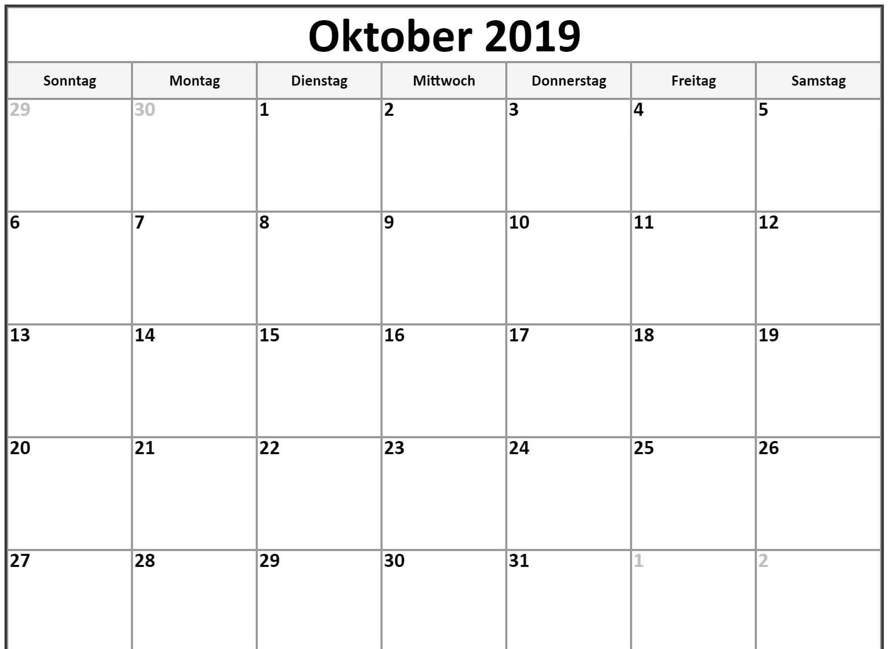 Oktober 2019 Kalender Excel