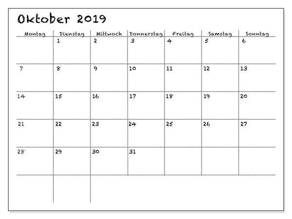 Oktober 2019 Kalender Mit Notizen