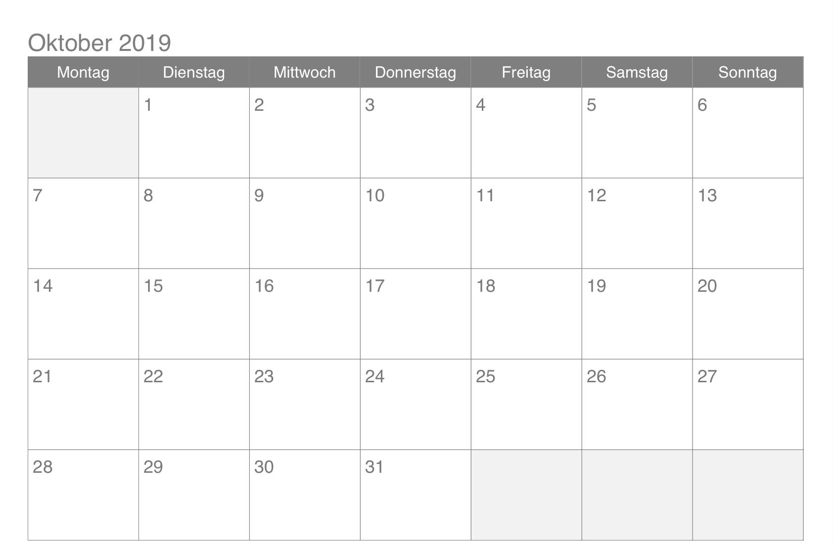 Oktober 2019 Kalender PDF