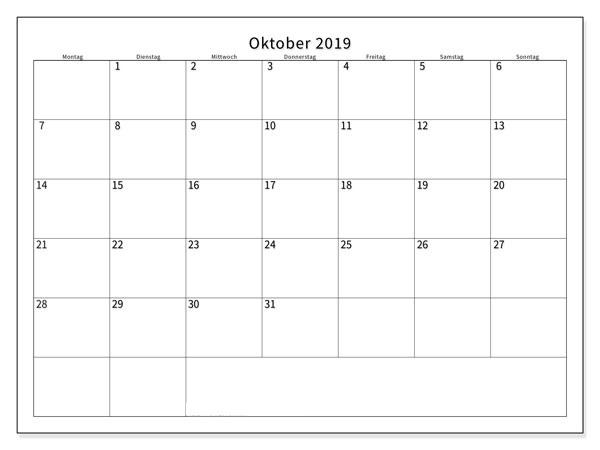 Oktober 2019 Kalender mit Feiertagen