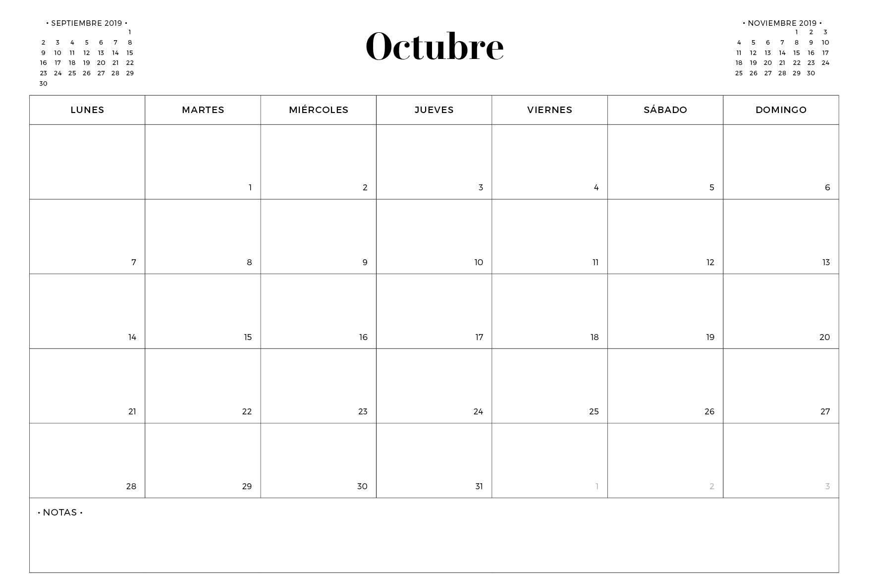 Plantilla de calendario de octubre de 2019