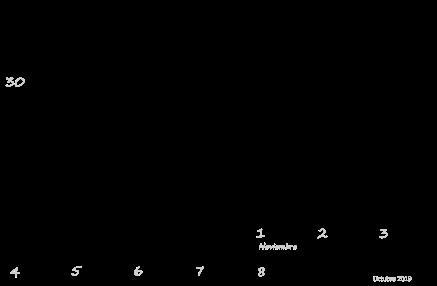 Plantilla en blanco del calendario de octubre de 2019