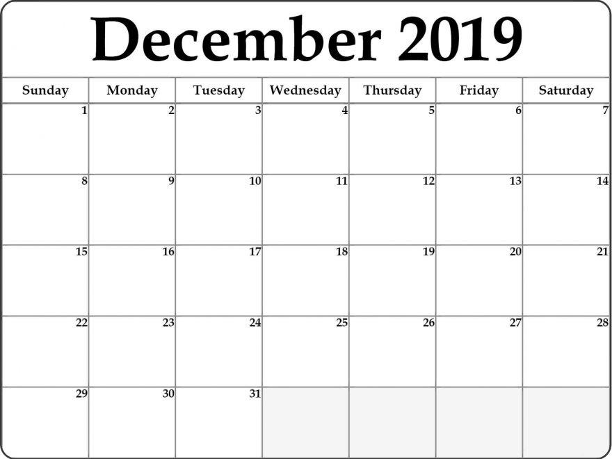 Printable Blank 2019 December Calendar Excel
