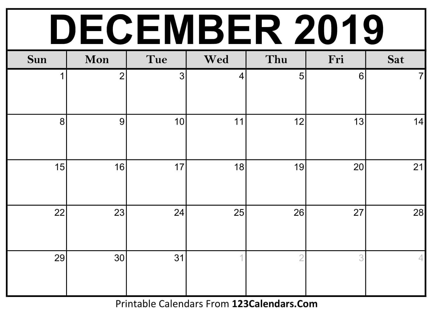Printable Calendar for December 2019 Templates
