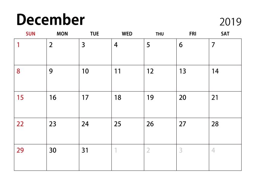 Calendario Diciembre 2019 Excel