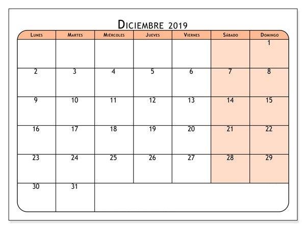 Calendario de diciembre de 2019 Word