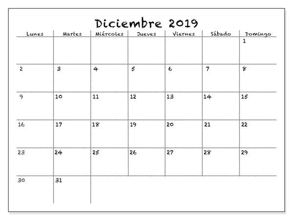 Calendario de pared de diciembre de 2019