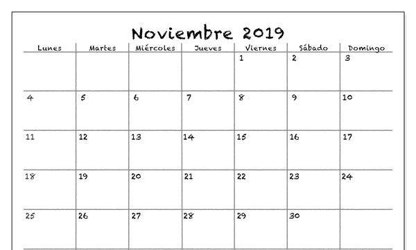 Calendario en blanco de noviembre de 2019