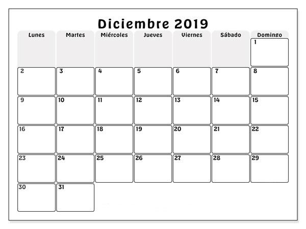Calendario imprimible gratuito de diciembre de 2019