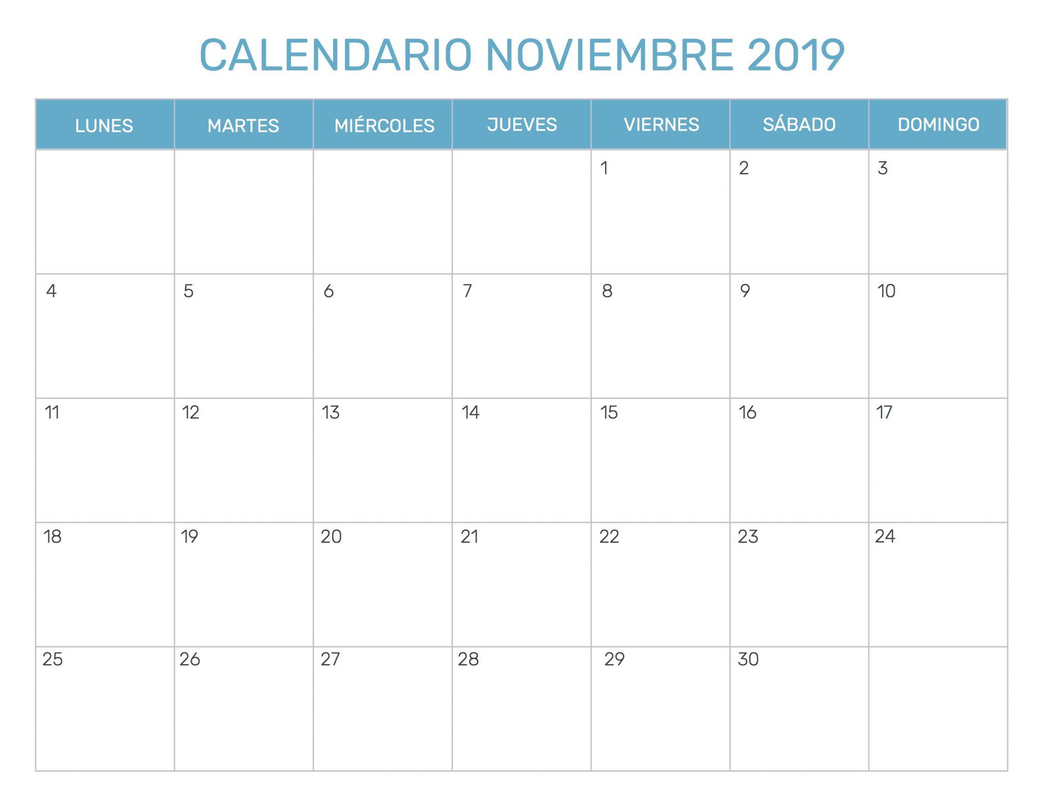 Calendario noviembre 2019 PDF