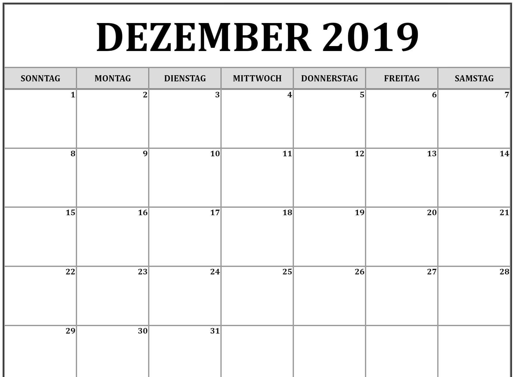 Dezember 2019 Kalendervorlage