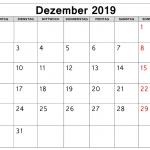 Leere druckbare Dezember 2019 Kalender vorlage mit Feiertagen