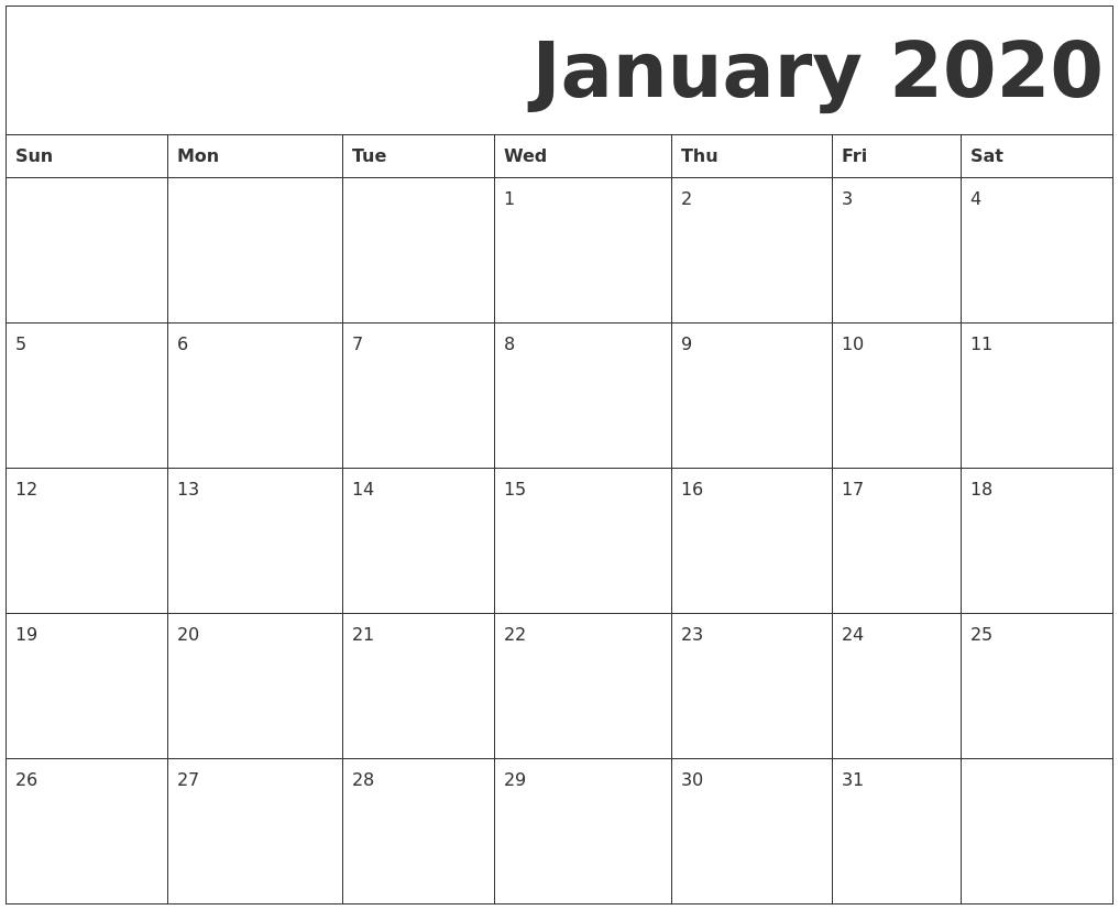 Editable January 2020 Calendar Printable