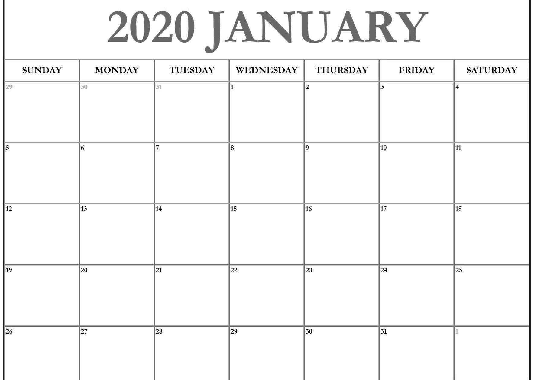Editable January 2020 Calendar Weekly Template