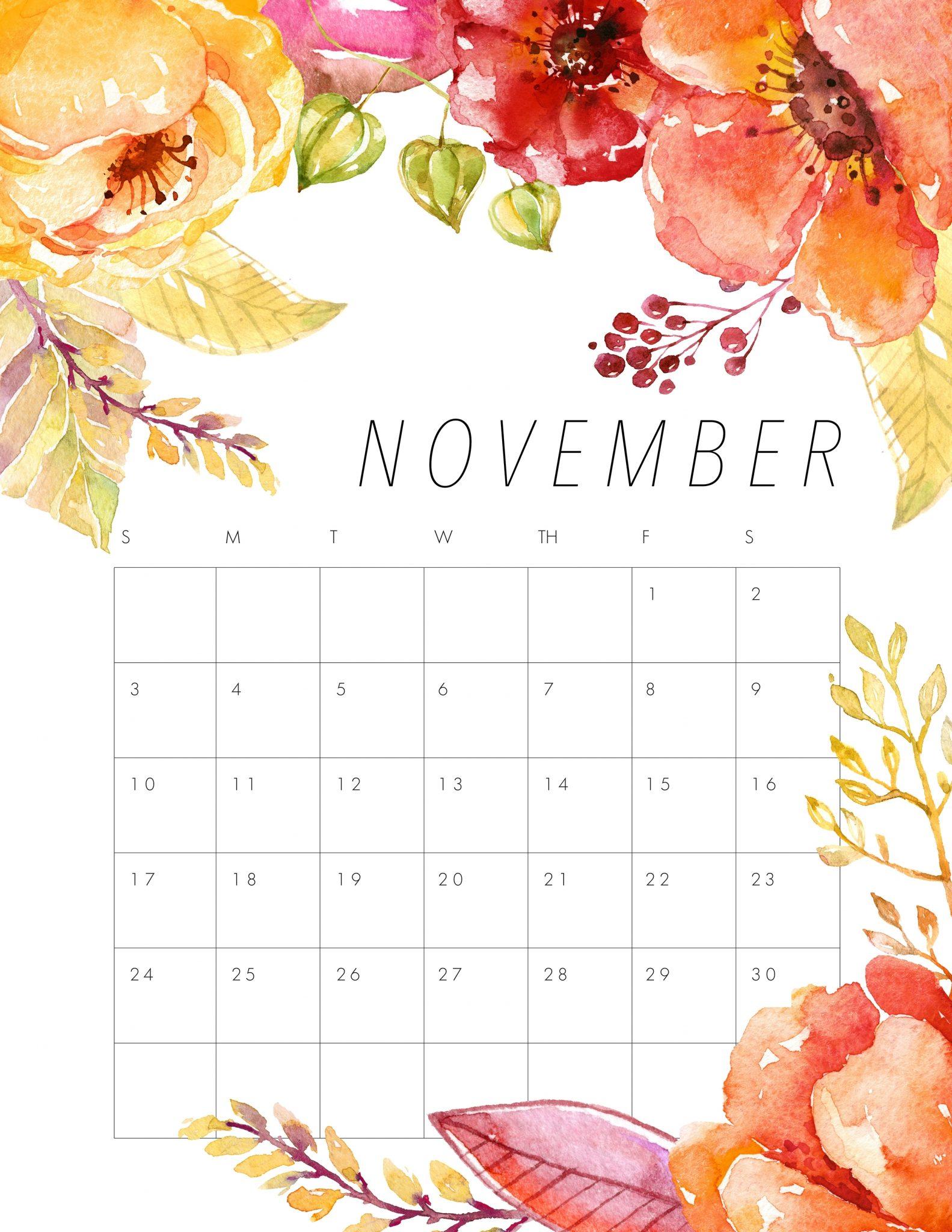 Floral 2019 November Calendar