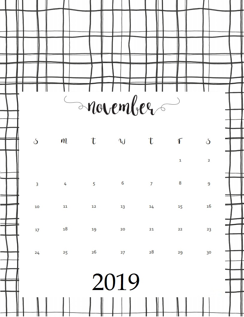Free November 2019 Wall Calendar