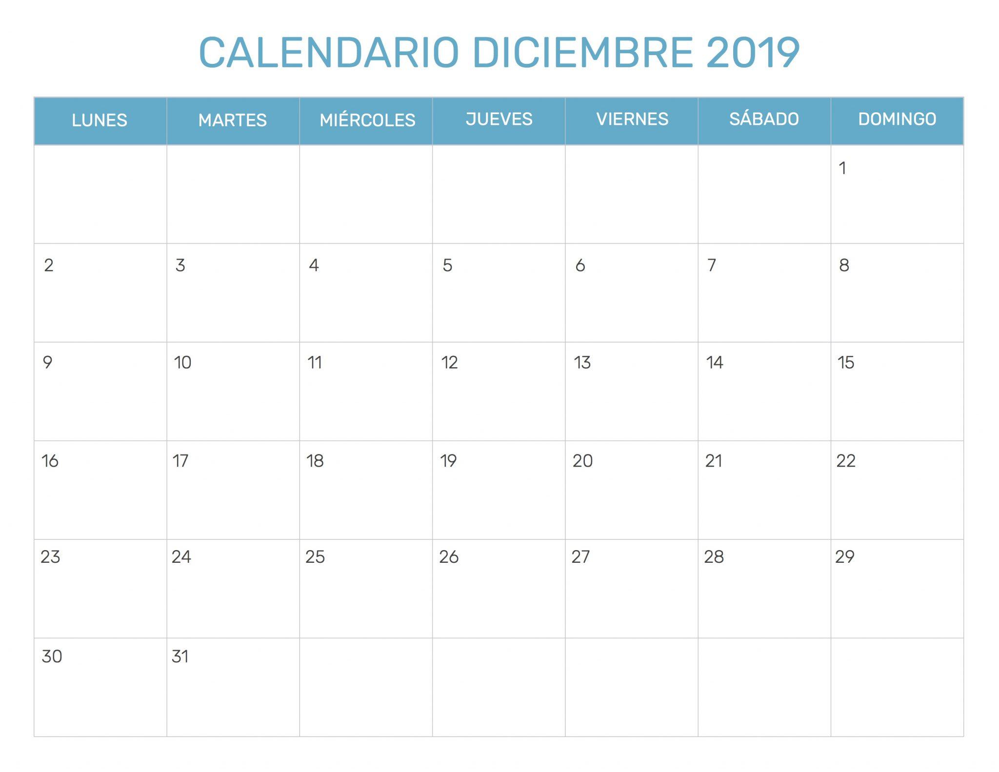 Free calendario diciembre 2019