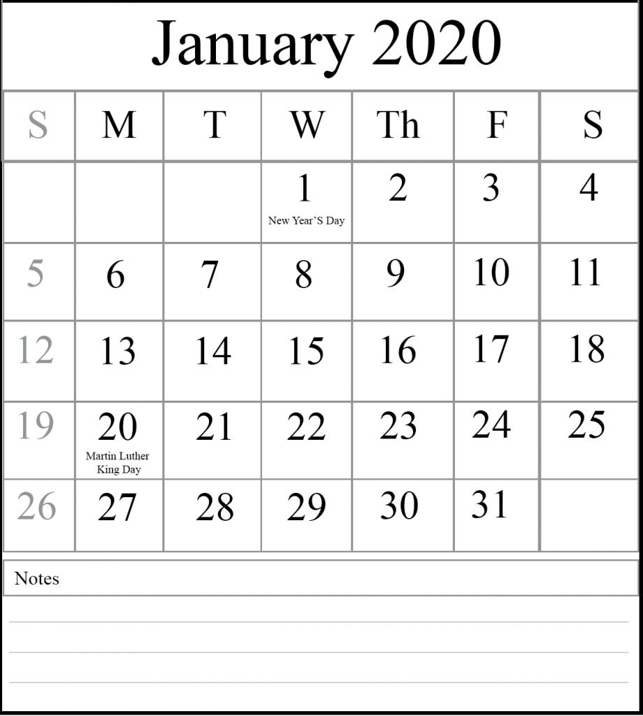 Holidays of January 2020 Editable Calendar