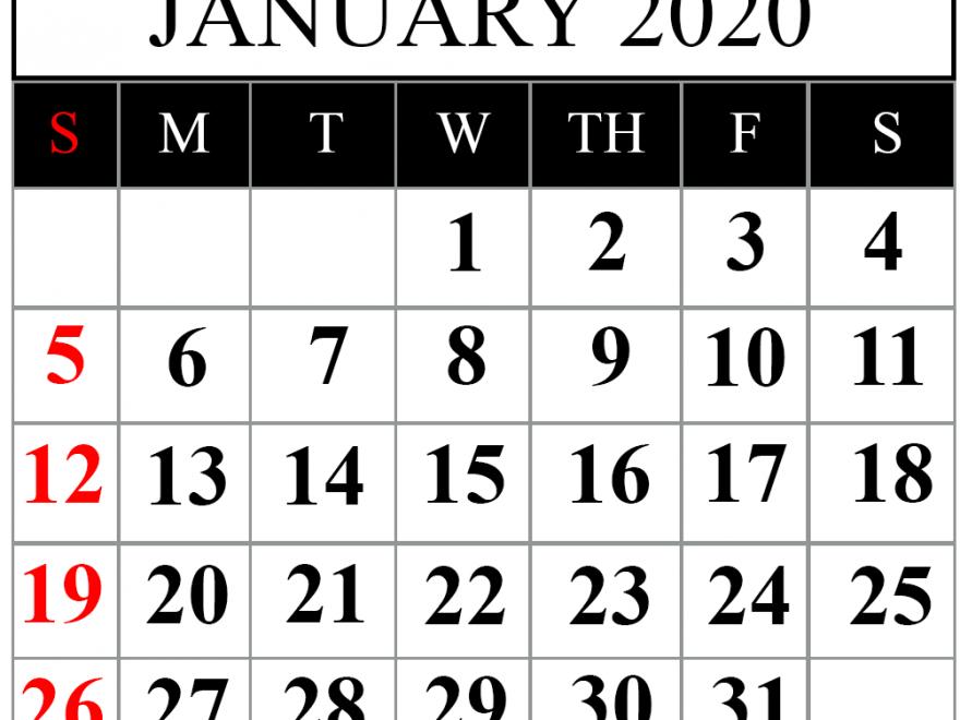 January 2020 Calendar Editable Template