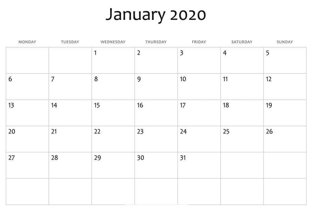 January 2020 Calendar Editable