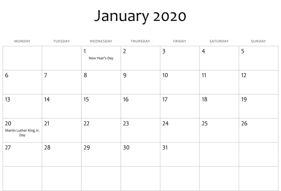 January 2020 Editable Calendar Holidays