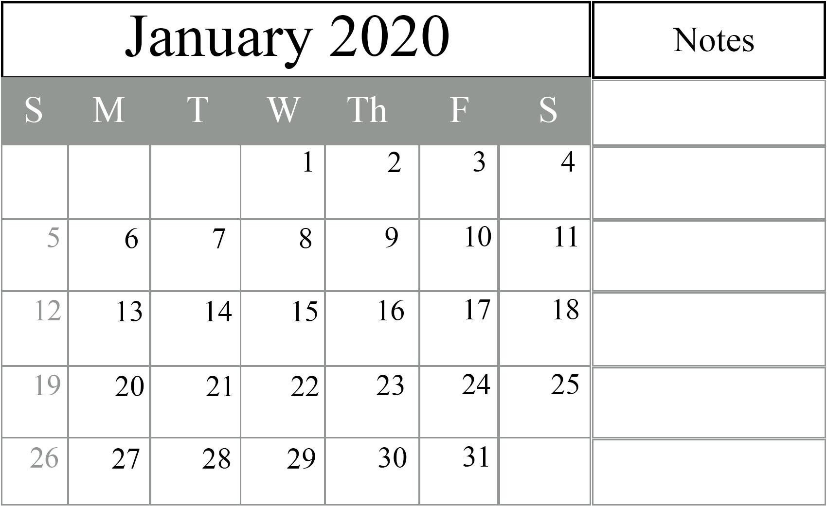 January 2020 Editable Calendar with Notes