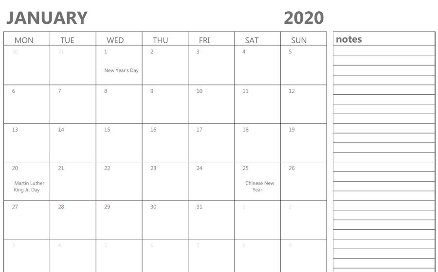 January 2020 Fillable Calendar