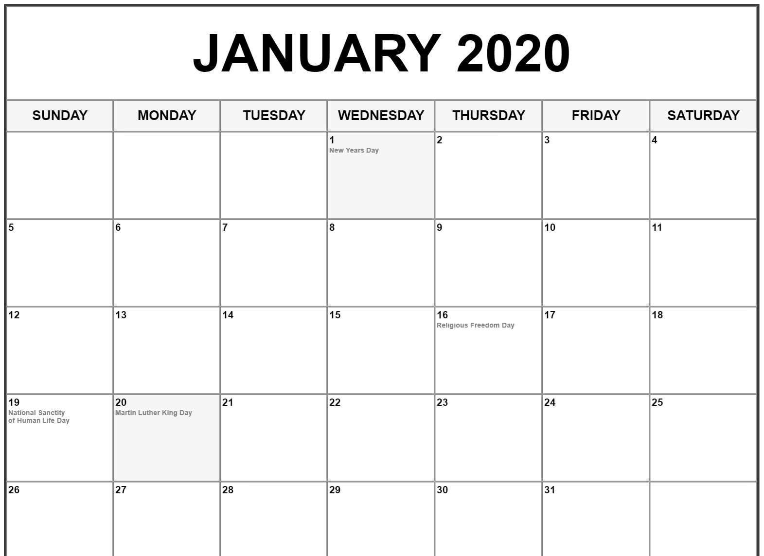 January Calendar 2020 Fillable