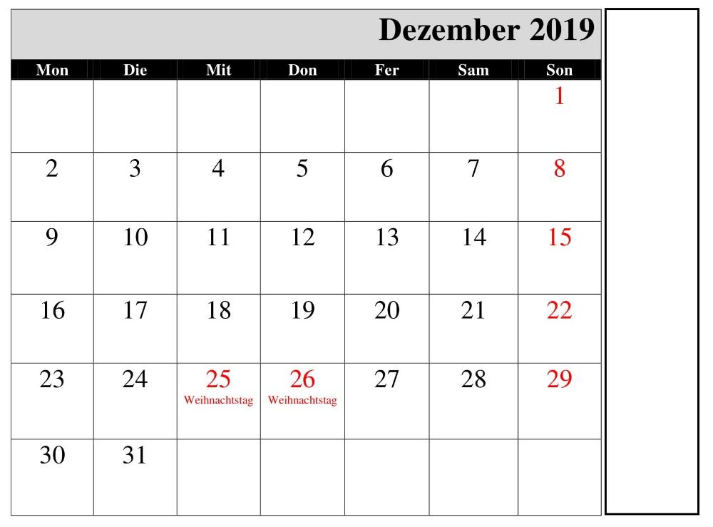 Leere Dezember Kalender 2019 Vorlage