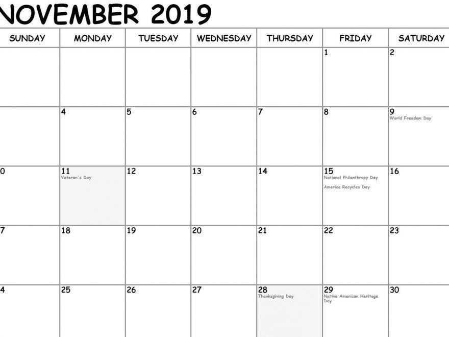 Leere November 2019 Kalender Druckbar Excel