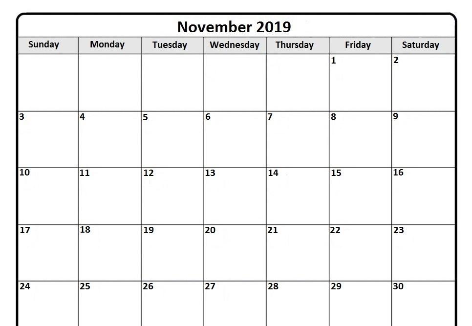 Druckbare November Kalender 2019