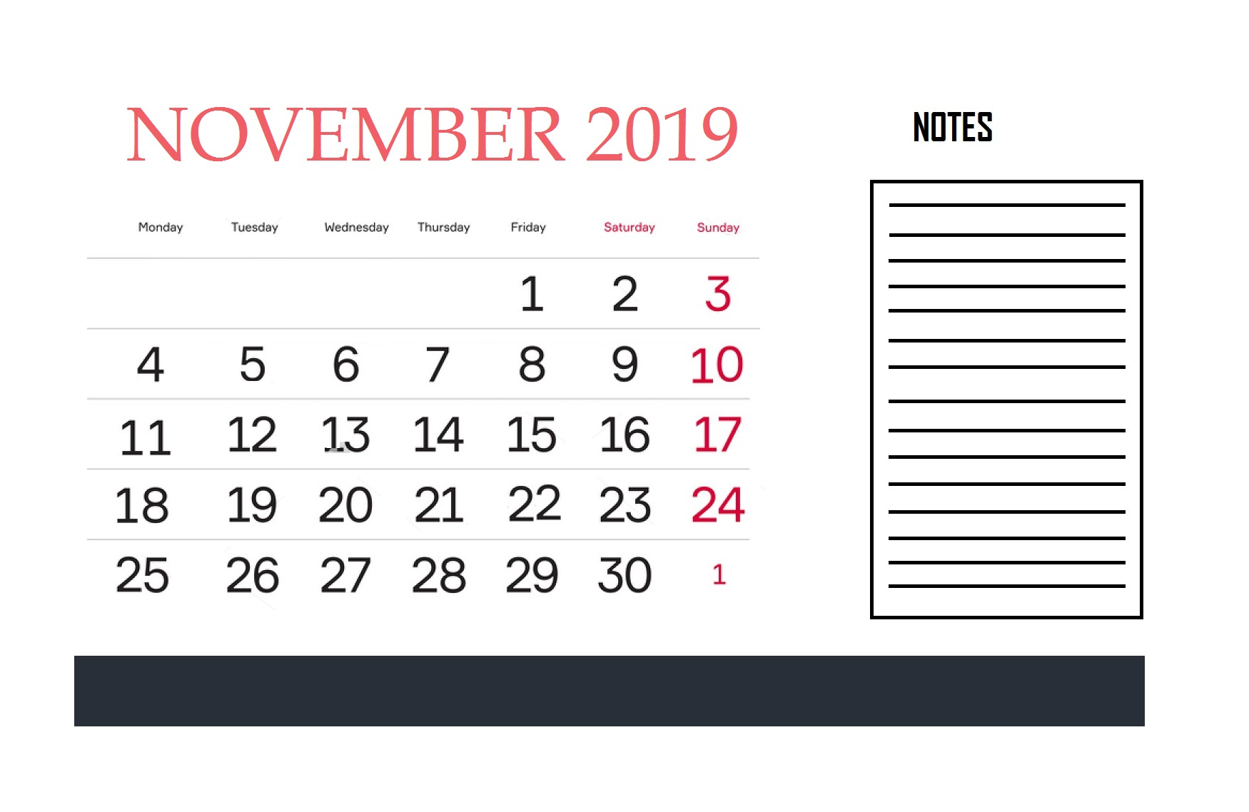November 2019 Calendar For Office Wall