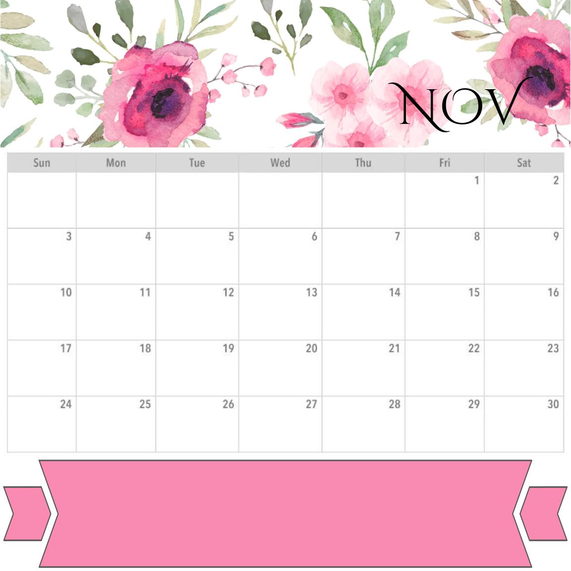 November 2019 Floral Calendar