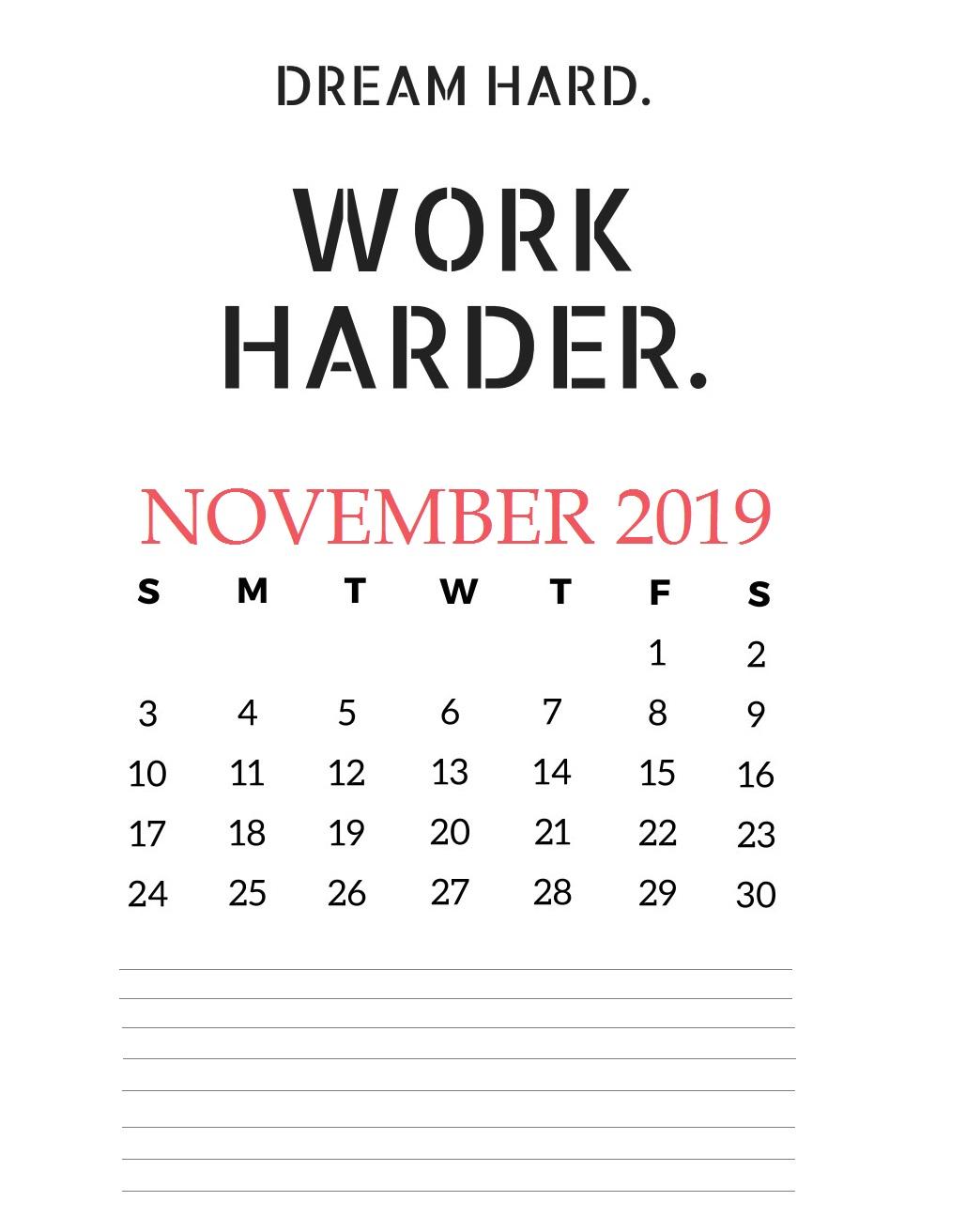 November 2019 House Wall Calendar