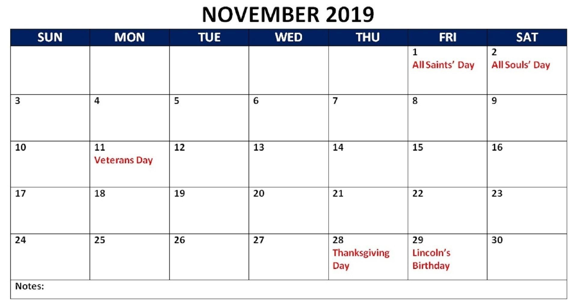 November 2019 Kalender mit Feiertagen