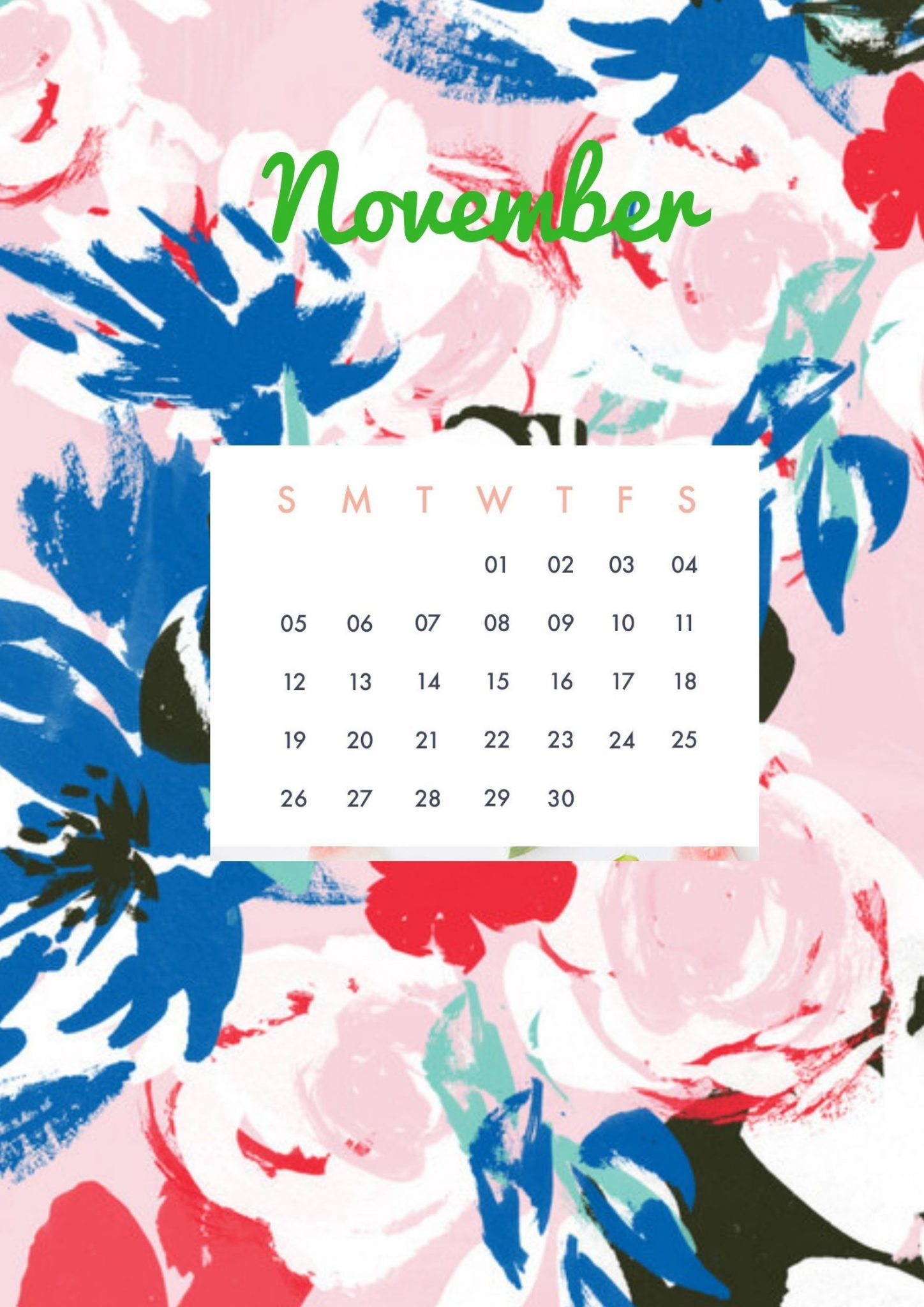 Floral November Calendar 2019 Cute Wallpaper For Desktop Laptop