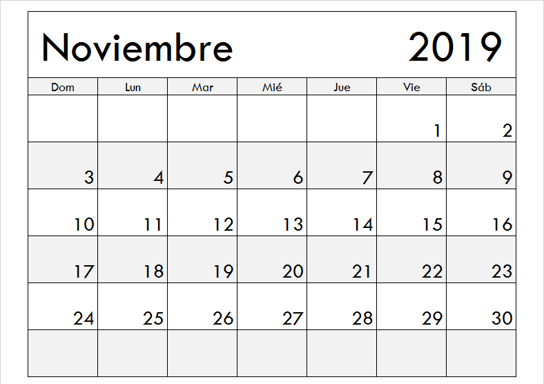 Noviembre 2019 Calendario Excel