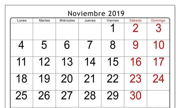 Noviembre Calendario 2019 Palabra