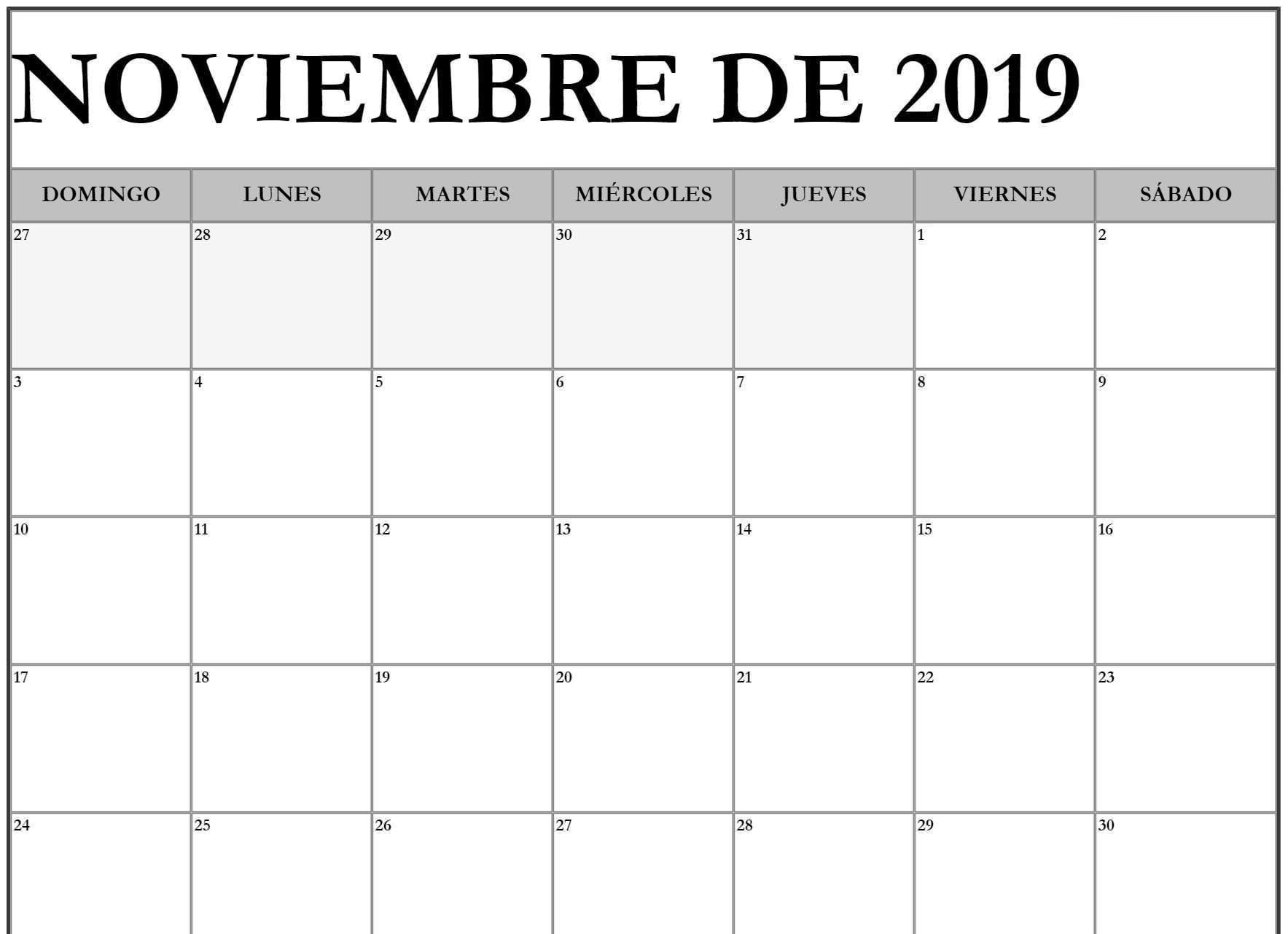 Noviembre Calendario 2019 Excel