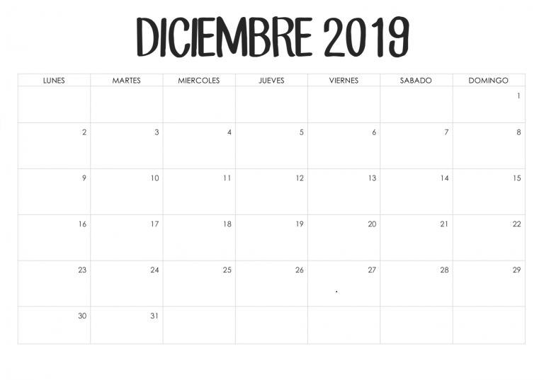 Plantilla imprimible del calendario de diciembre de 2019
