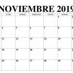 Plantillas imprimibles en blanco del calendario noviembre de 2019