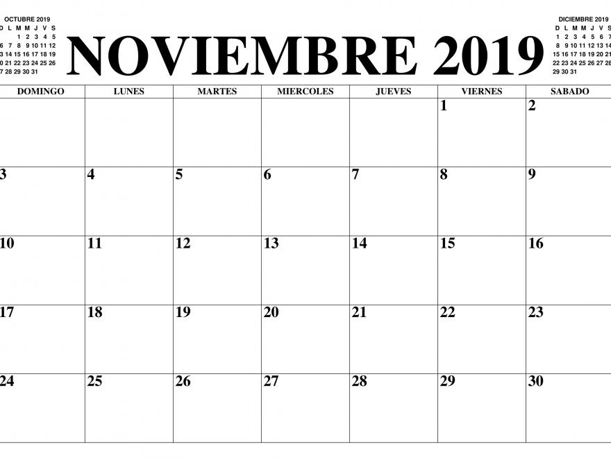 Plantilla imprimible del calendario de noviembre de 2019
