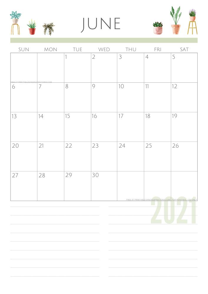 2021 June Planner Calendar
