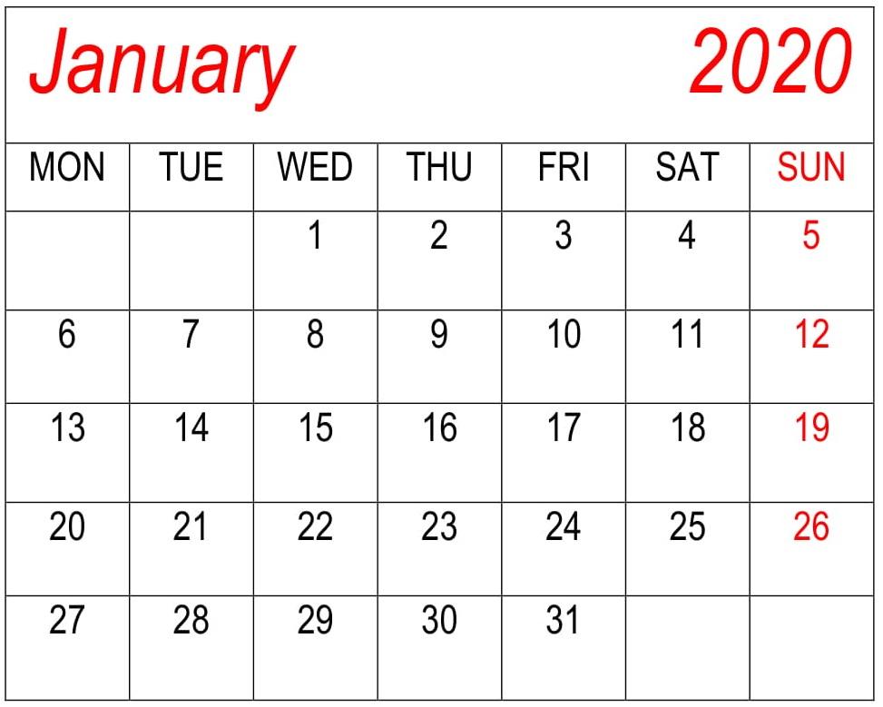 Blank Calendar Template January 2020