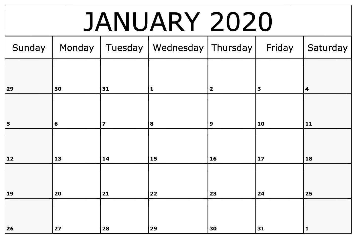 Blank January 2020 Calendar PDF