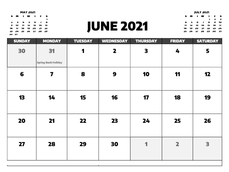 Blank June 2021 Calendar with Holidays