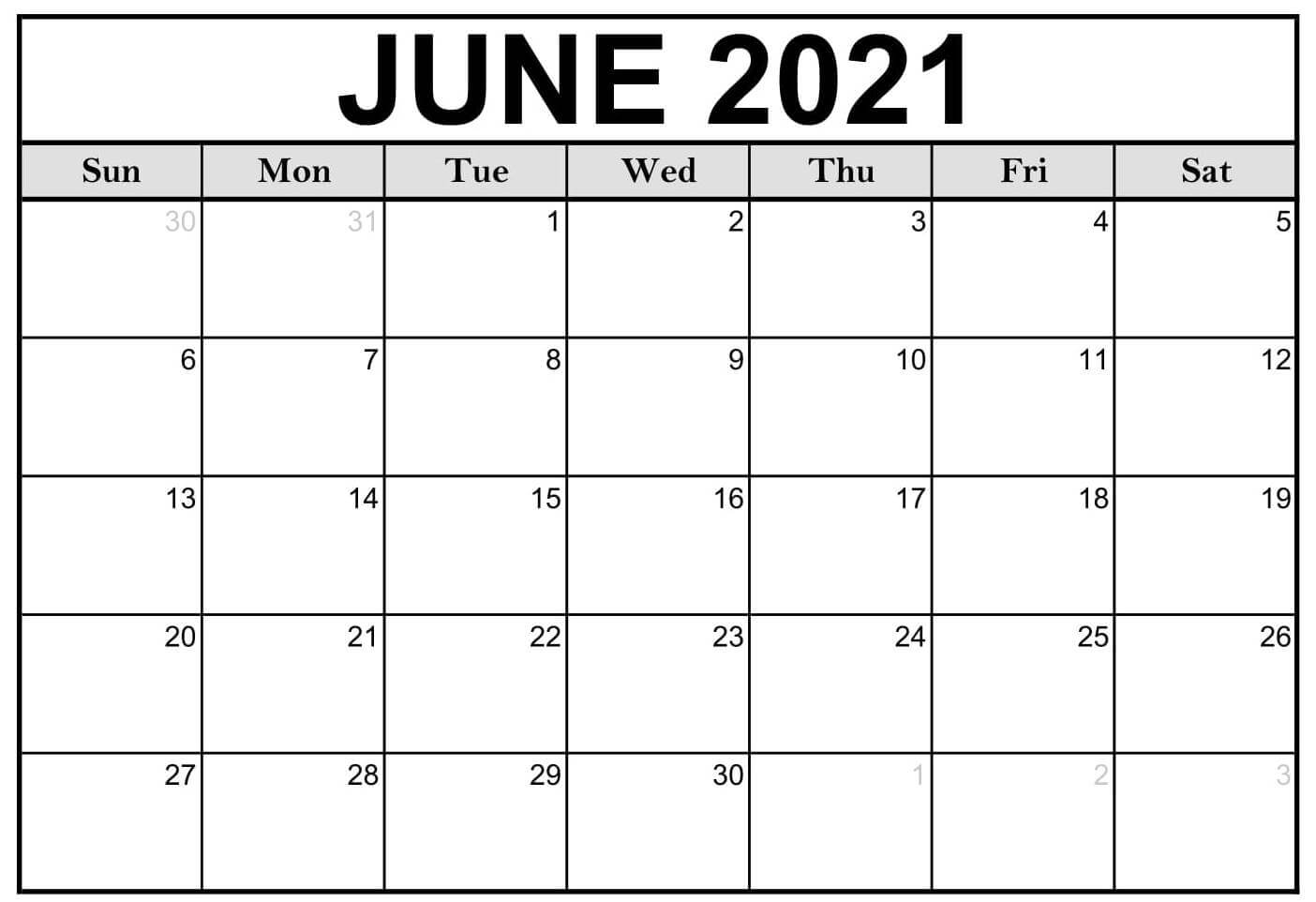 Calendar For June 2021 Printable Template